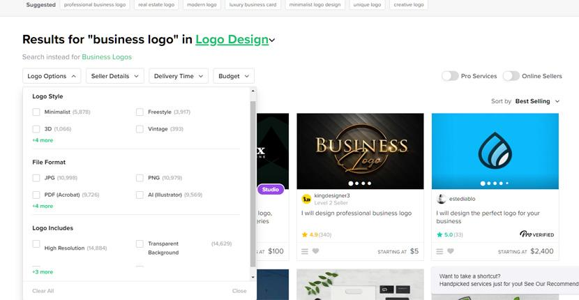 Fiverr screenshot - Business logo design