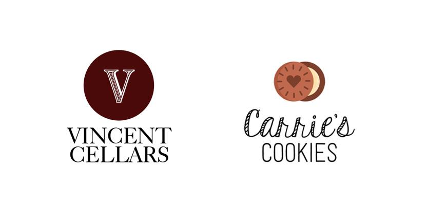 Sample business logos created with Tailor Brands - Vincent Cellars, Carrie's Cookies