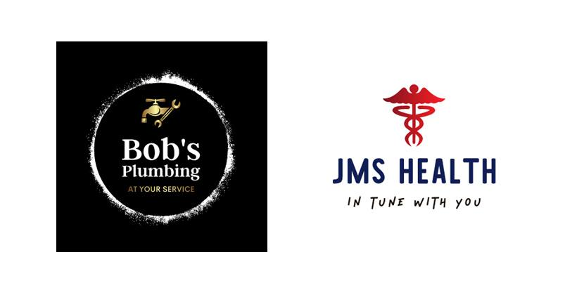 Sample business logos created with Looka - Bob's Plumbing, JMS Health