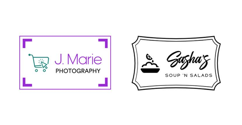 Sample business logos created with Looka - J. Marie Photography, Sasha's Soups and Salads
