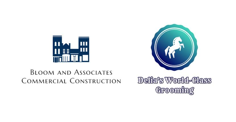 Sample business logos created with DesignEvo - Bloom and Associates, Delia's World-Class Grooming