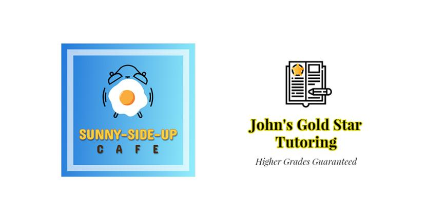 Sample business logos created with DesignEvo - Sunny-Side-Up Cafe, John's Gold Star Tutoring
