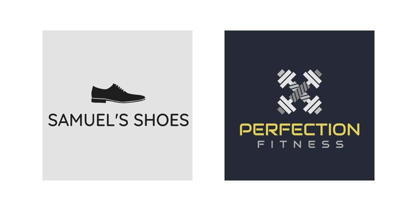 Sample business logos made with Wix Logo Maker - Samuel's Shoes, Perfection Fitness