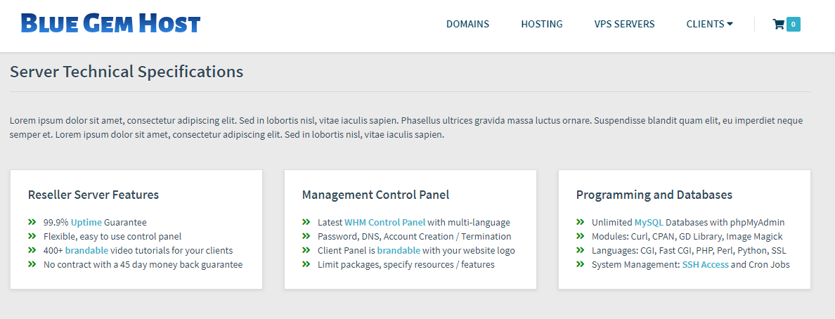 Blue Gem Host Server Technical Specifications