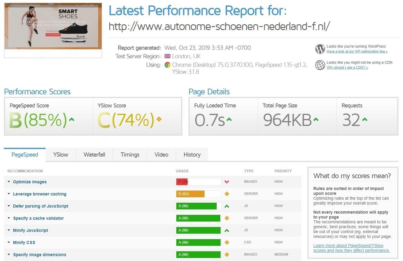 Laadtijden Webhosting Argeweb