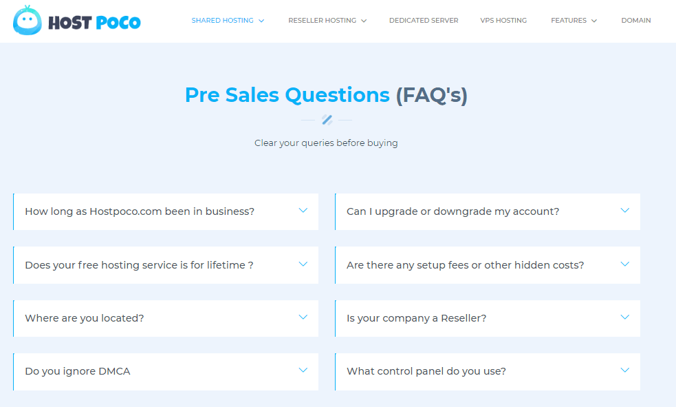 Hostpoco FAQ