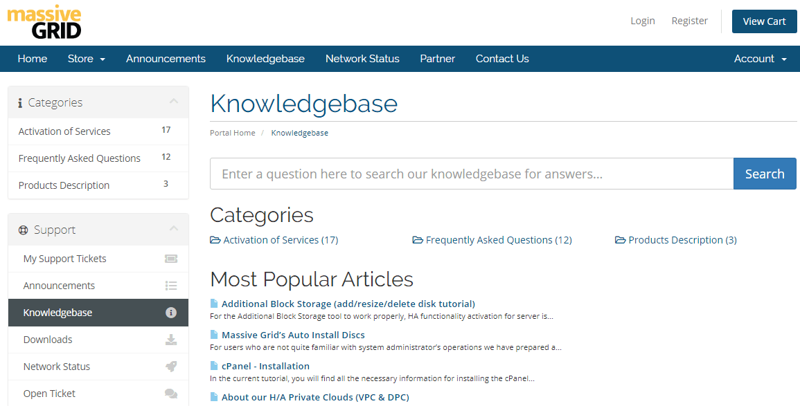 MassiveGRID Knowledgebase