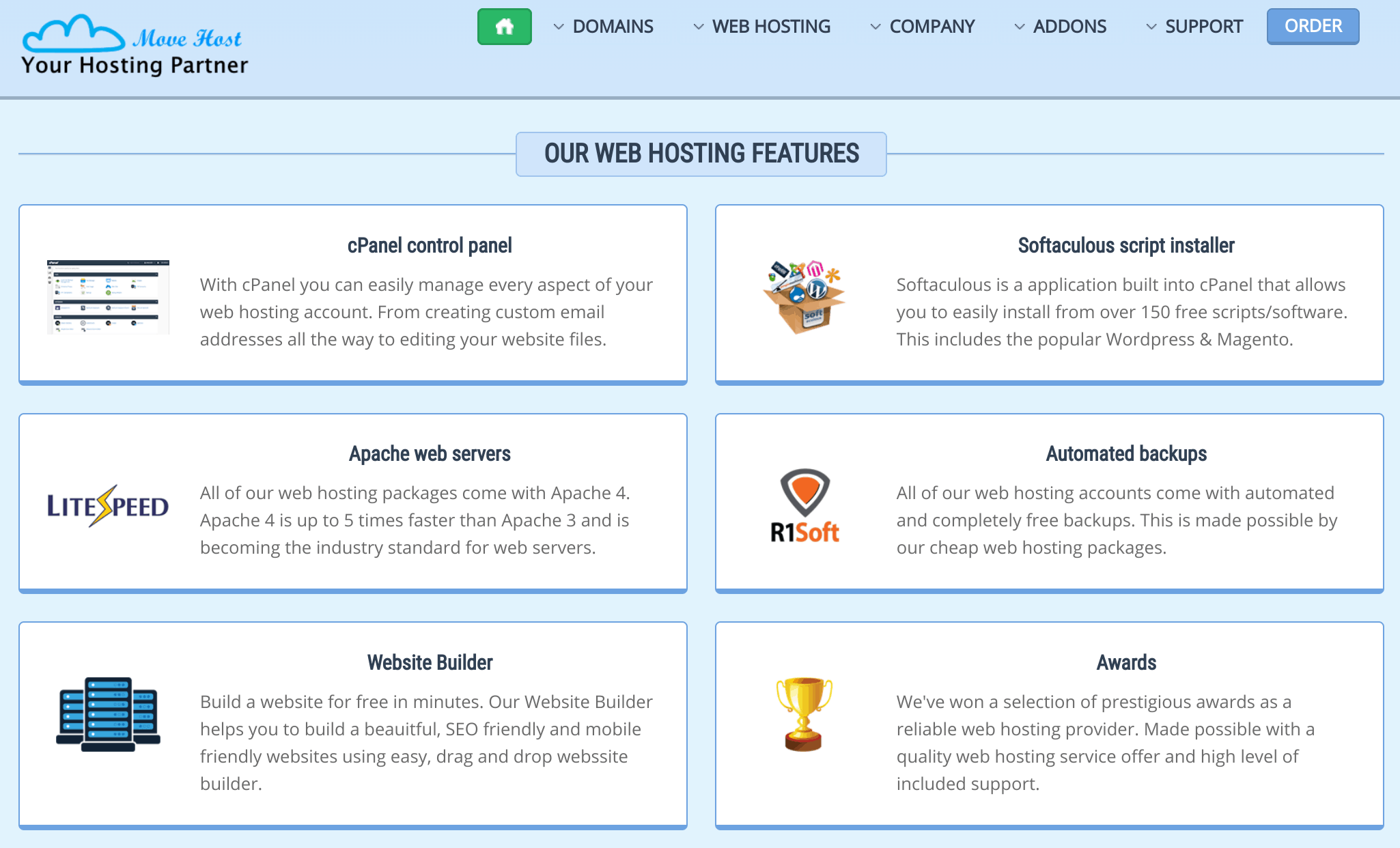 movehost features