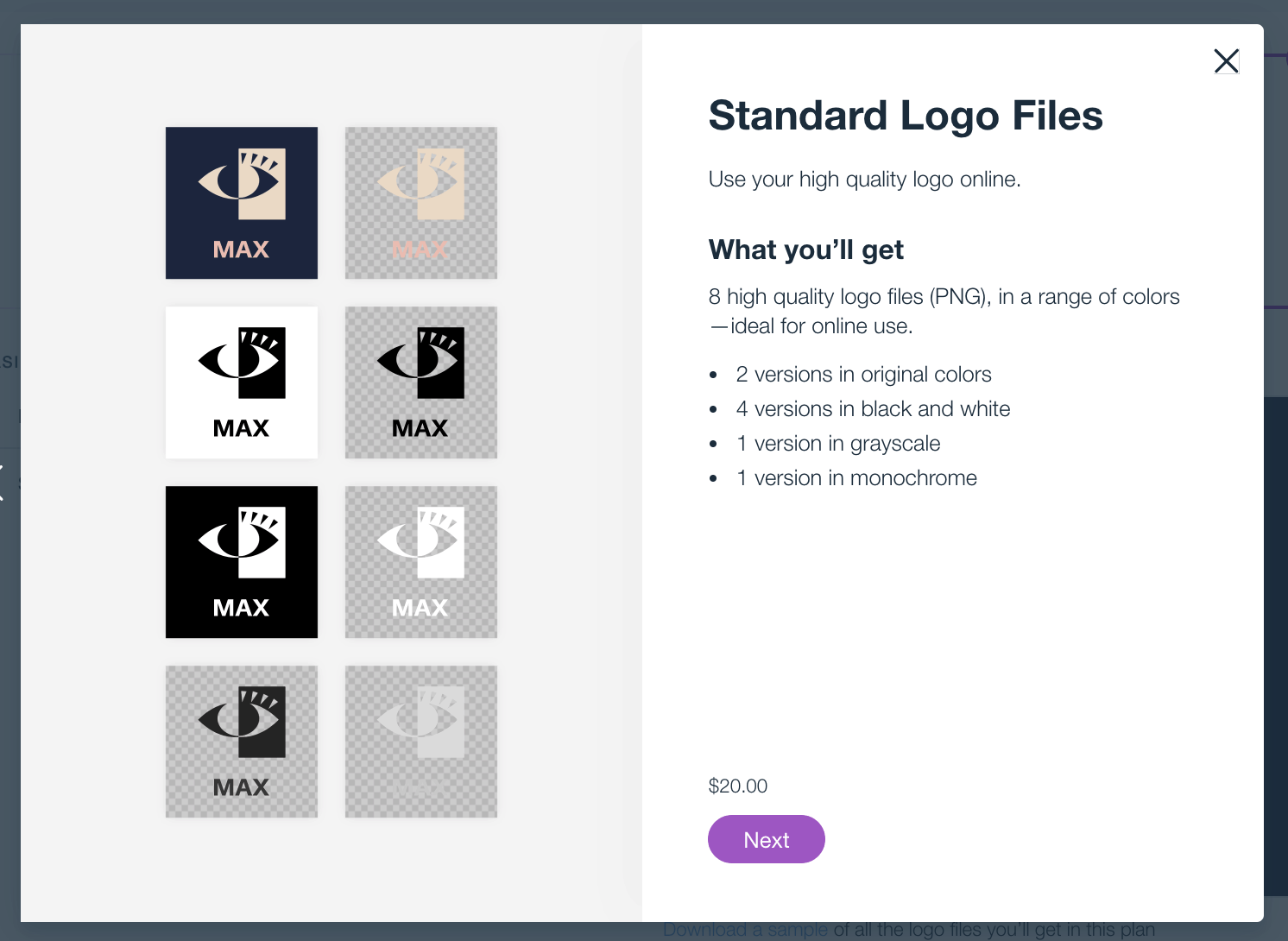 Wix Logo Maker pricing - Standard logo files