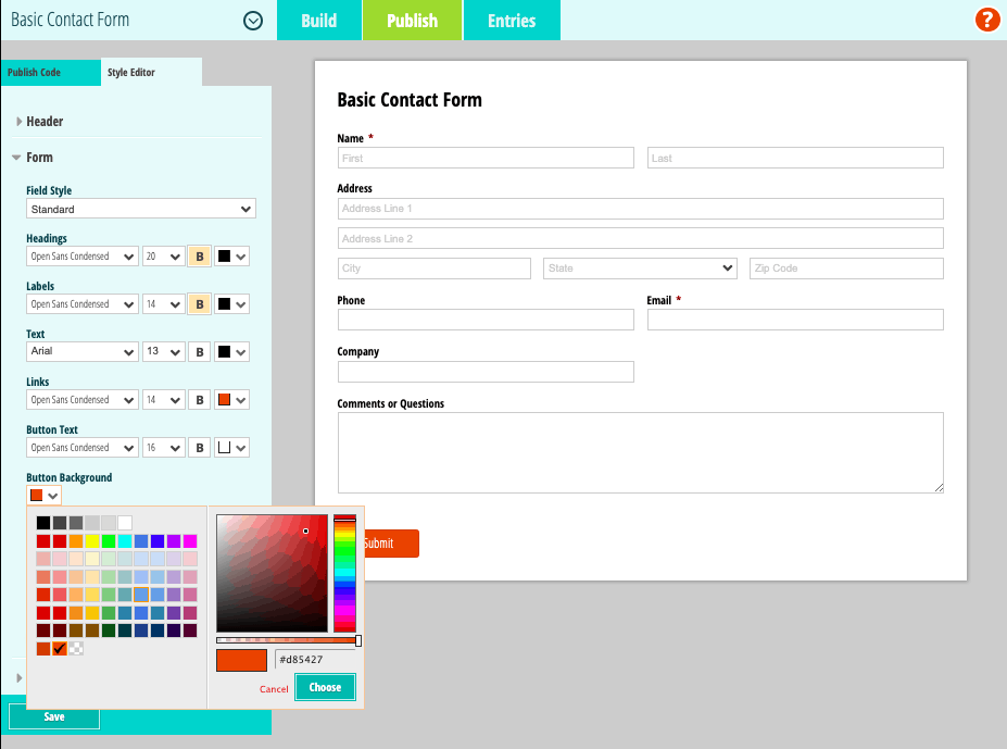 Cognito Forms screenshot - Style Editor