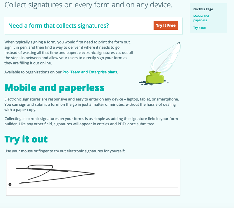 Cognito Forms screenshot - Electronic signatures