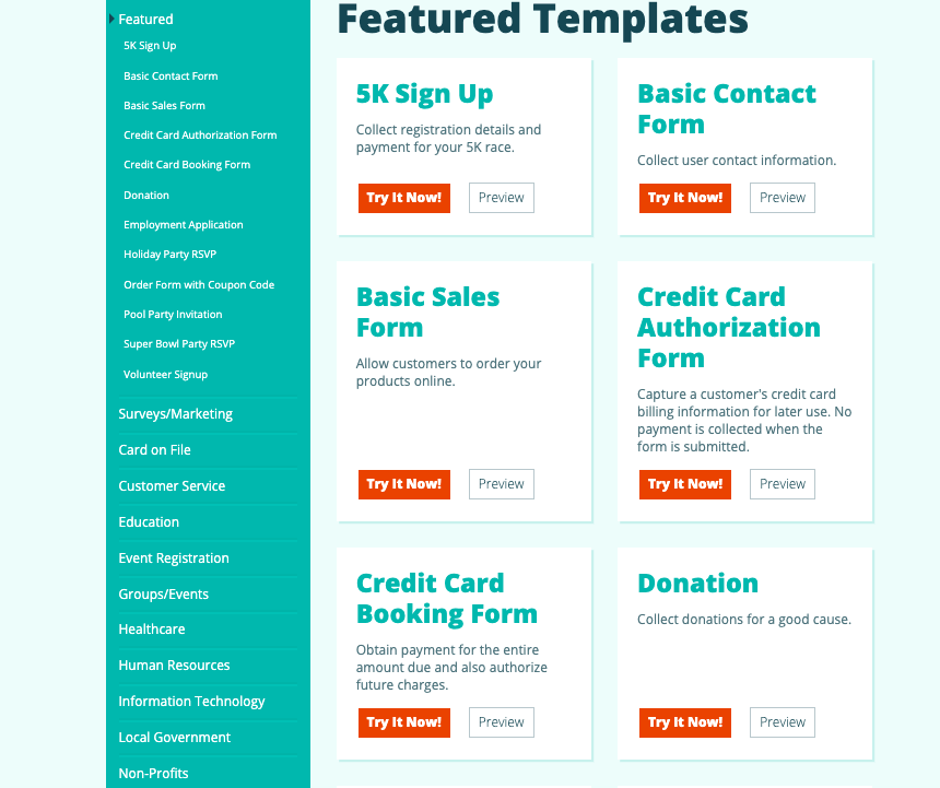 Cognito Forms screenshot - Featured Templates