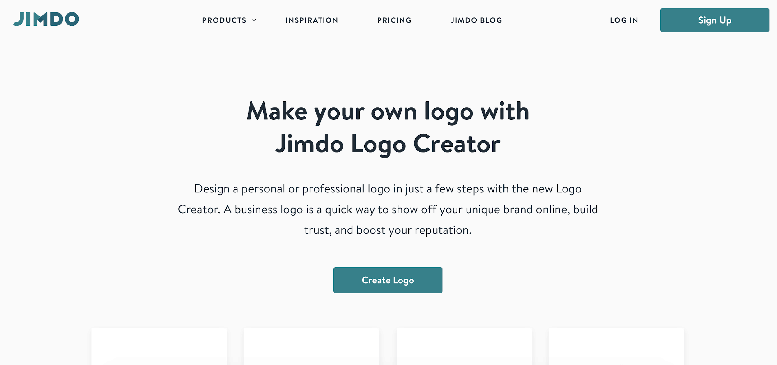 Jimdo Logo Creator screenshot - homepage
