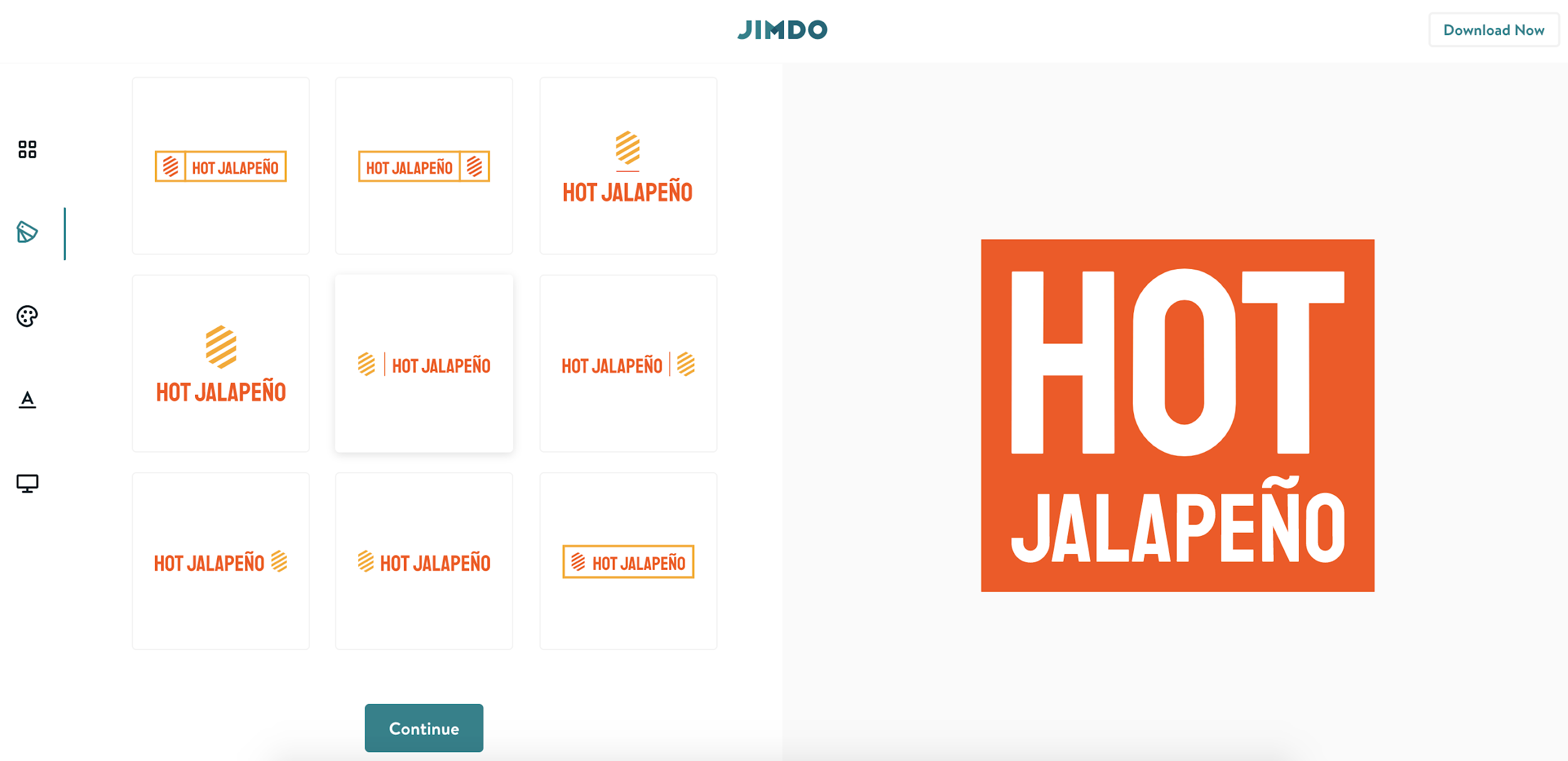 Jimdo Logo Creator screenshot - logo variations