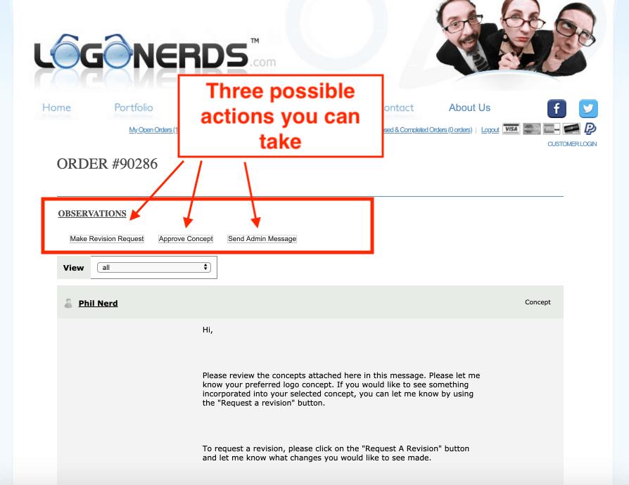 LogoNerds screenshot - Customer portal