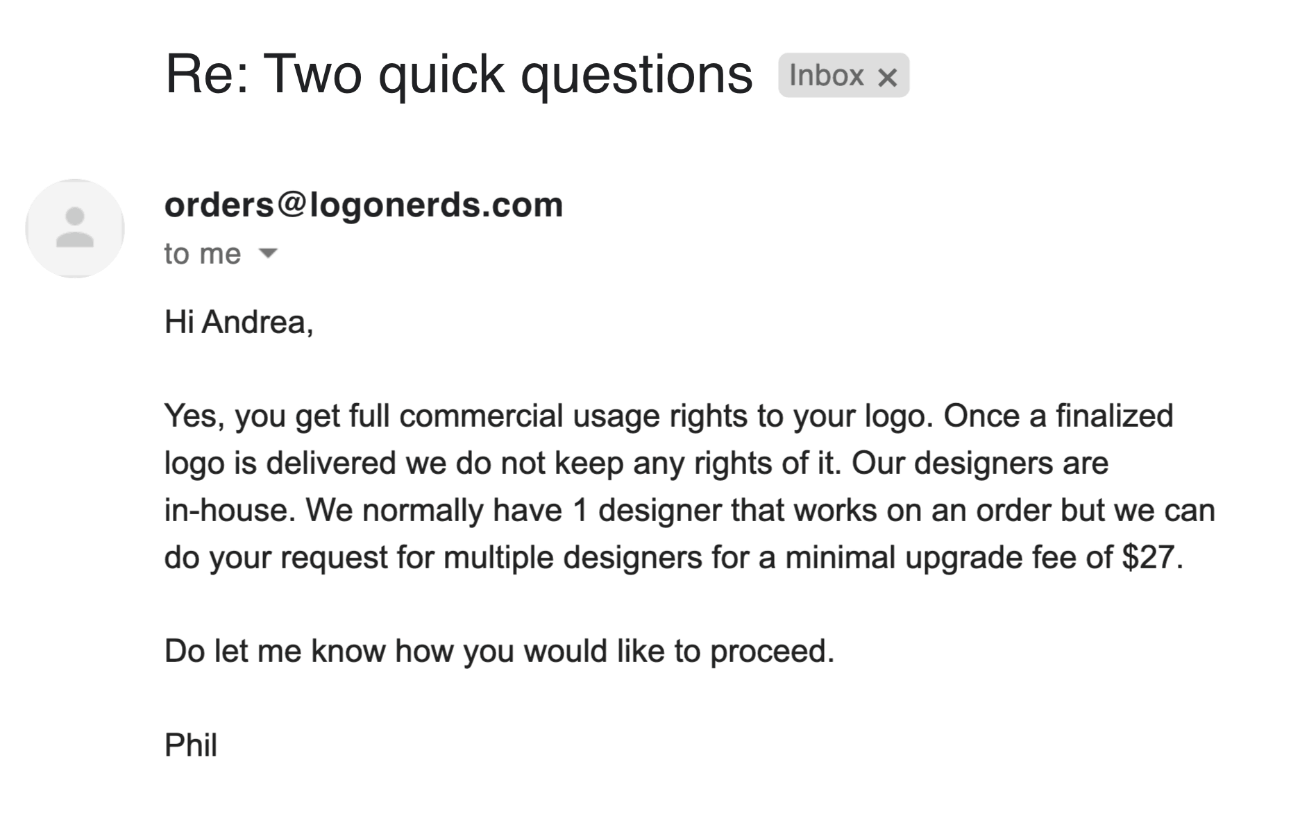 LogoNerds email support screenshot
