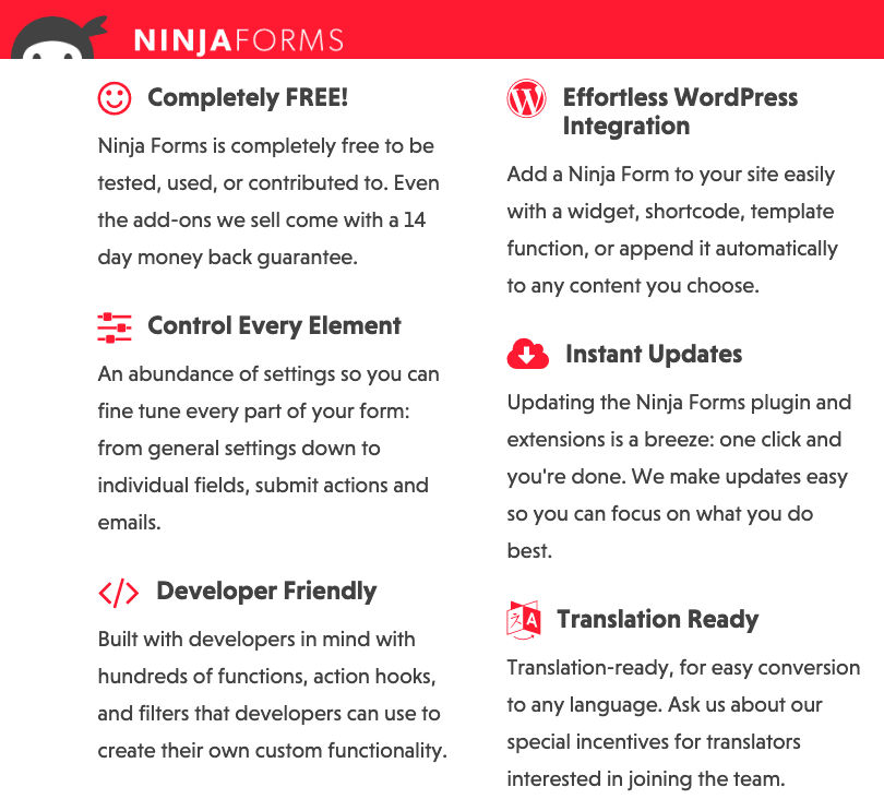 Ninja Forms screenshot - Features