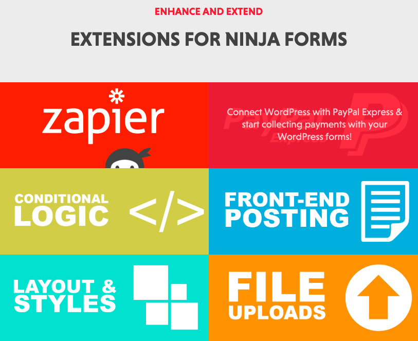 Ninja Forms screenshot - extensions