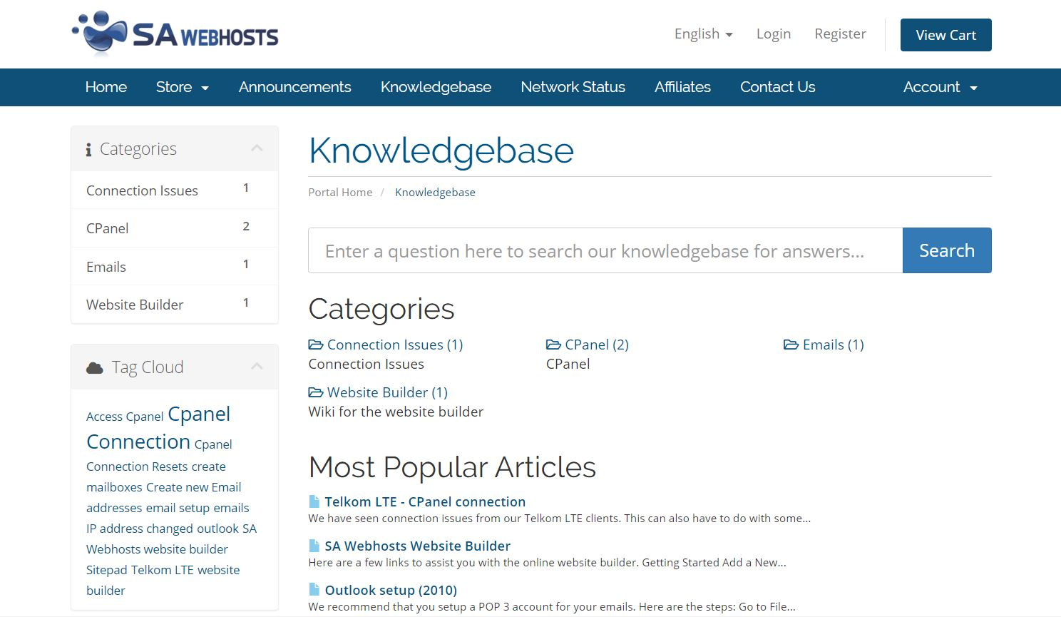 SA Webhosts Knowledgebase