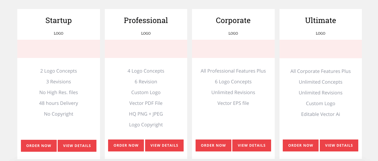 Tailored Logo screenshot - Pricing packages