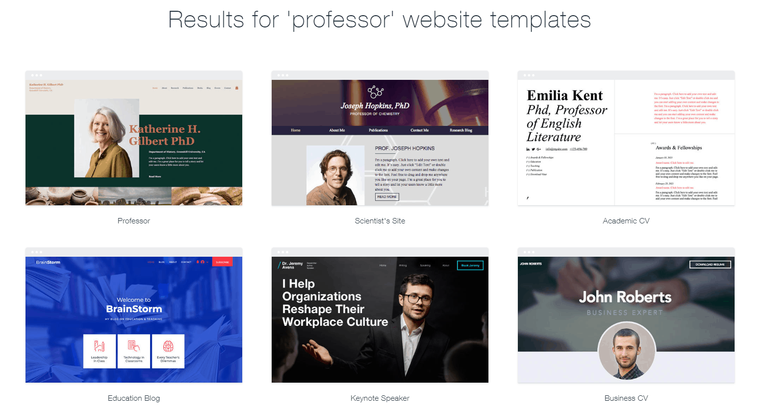 "Wix templates for ""professor"""