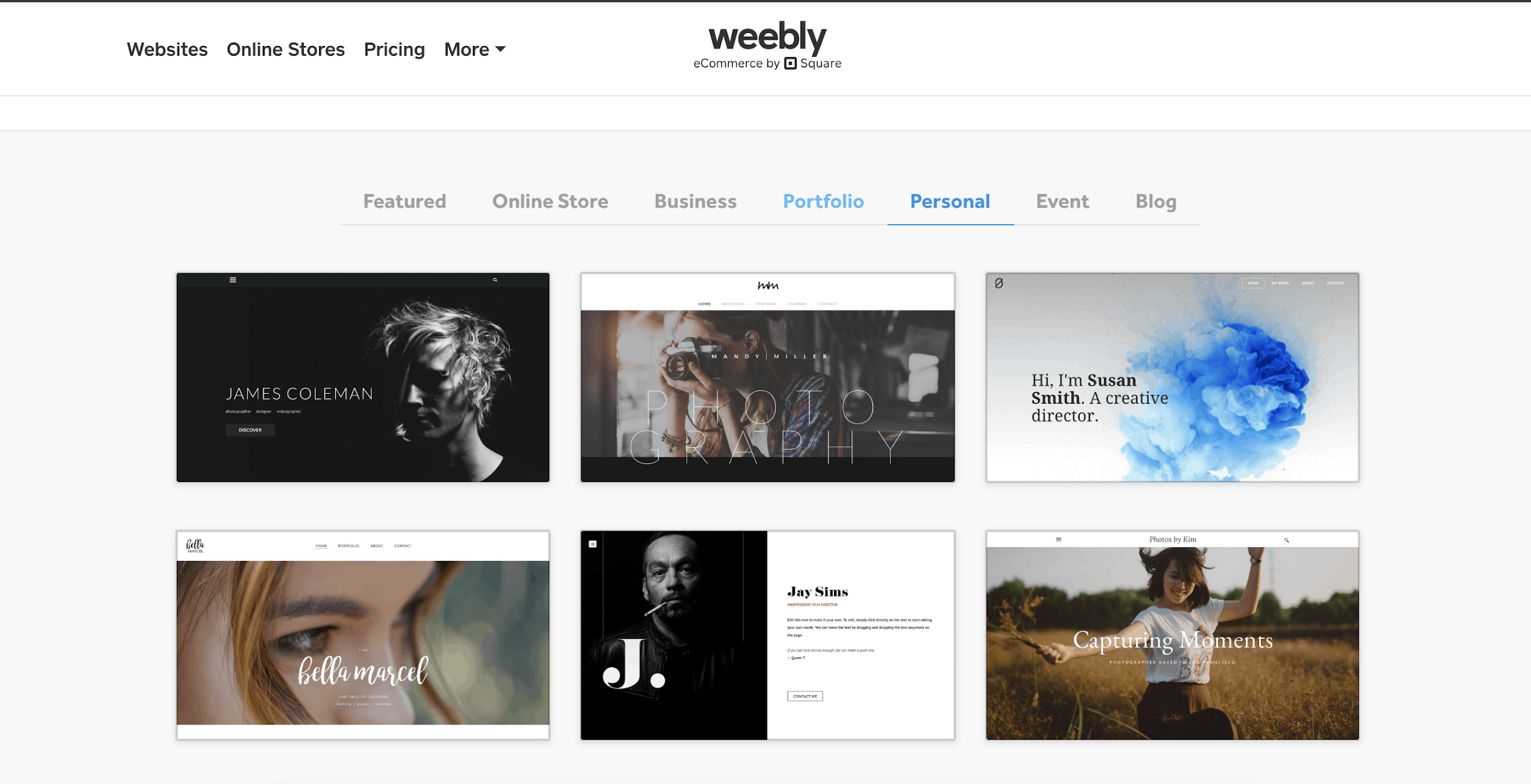 Weebly Personal templates