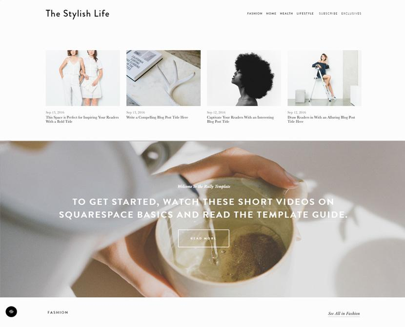 Squarespace Rally blog template