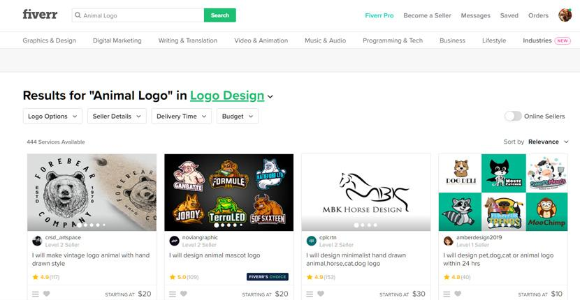 Fiverr screenshot - Animal logo designers