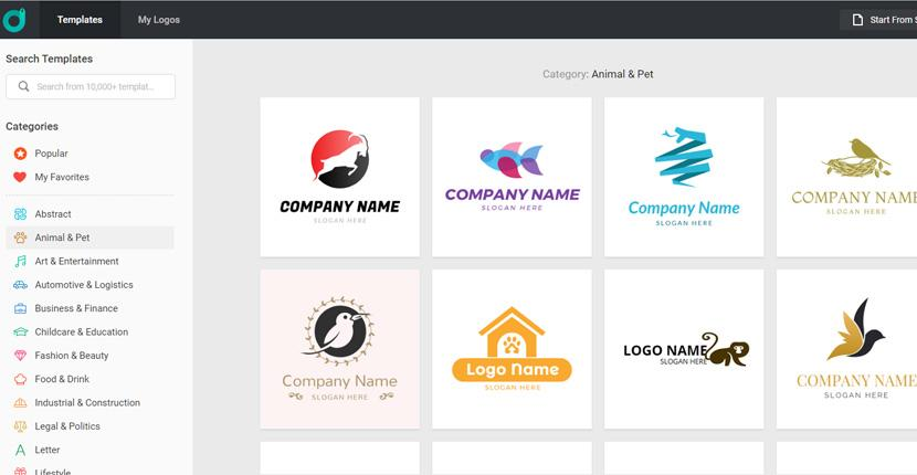 DesignEvo screenshot - animal and pet logos