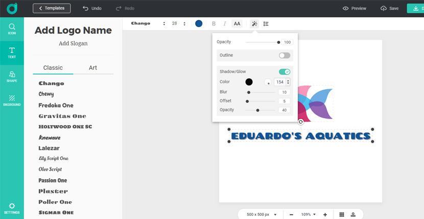 DesignEvo screenshot - Logo editor