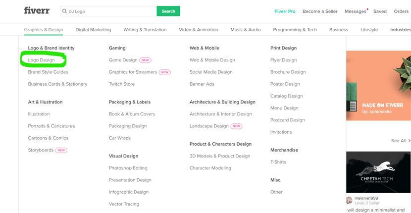 Fiverr screenshot - Design categories