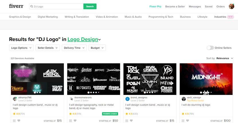 Fiverr screenshot - DJ logo designers