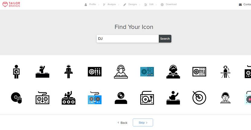 Tailor Brands screenshot - DJ icon library