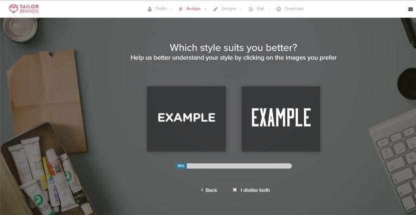 Tailor Brands screenshot - Logo styles