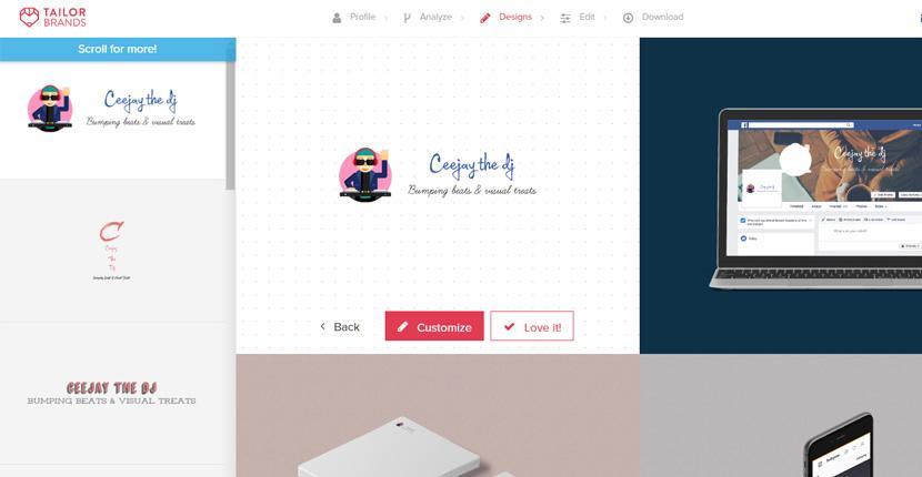 Tailor Brands screenshot - Logo editor