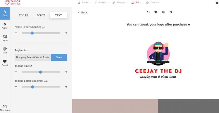 Tailor Brands screenshot - Text styles