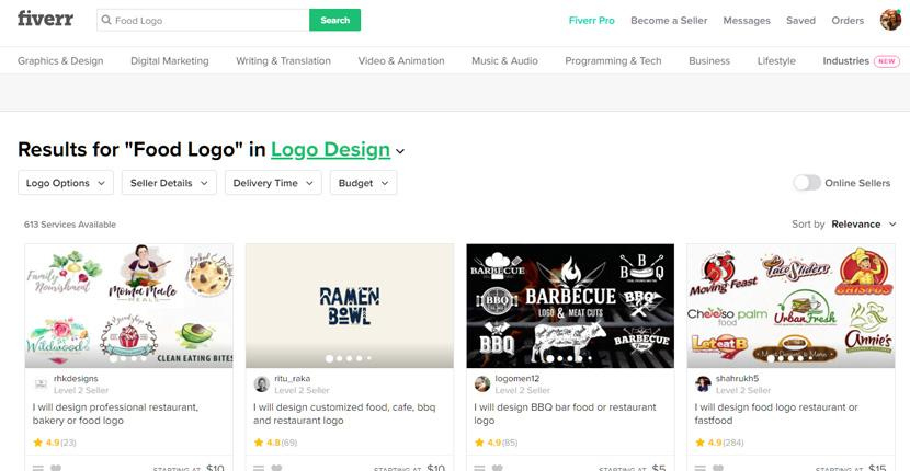 Fiverr screenshot - Food logo designers