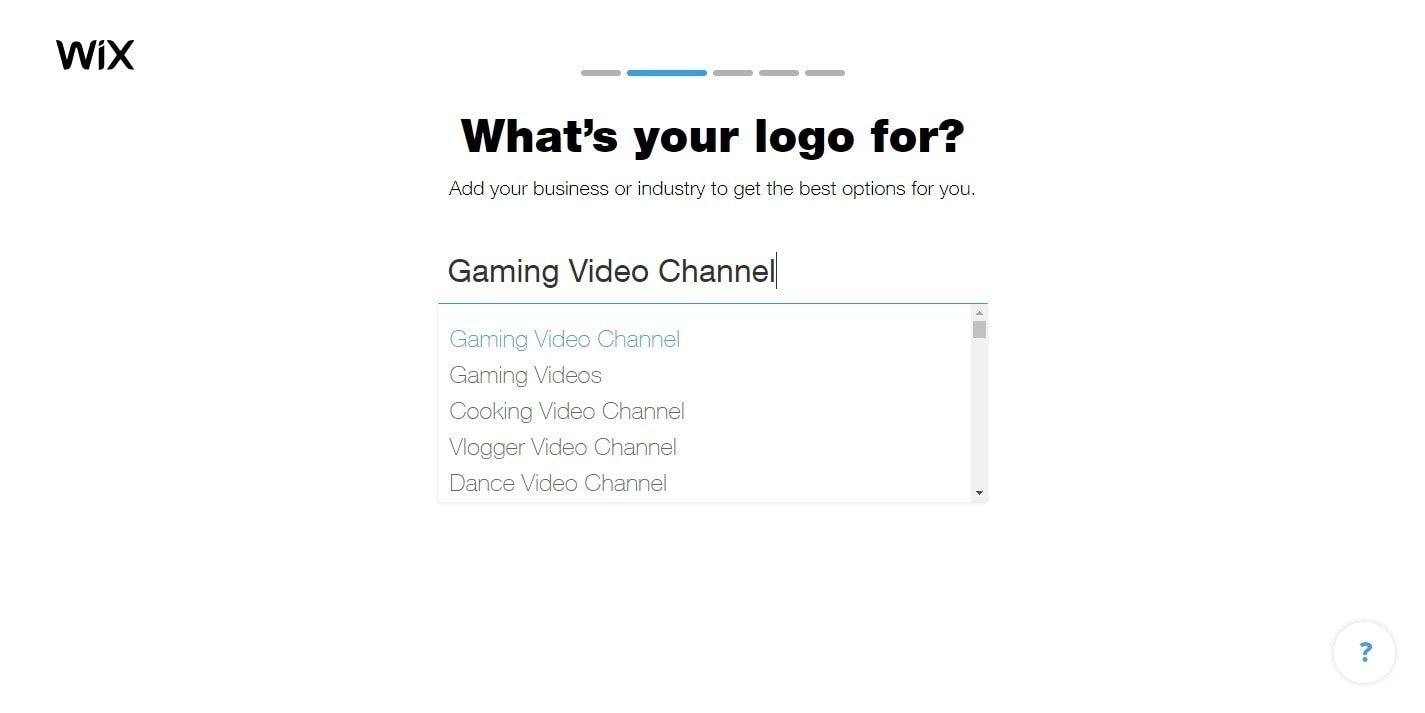 Wix Logo Maker screenshot - What's your logo for?