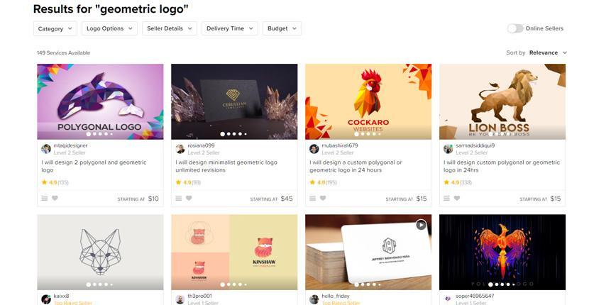 Fiverr screenshot - Geometric logo designers