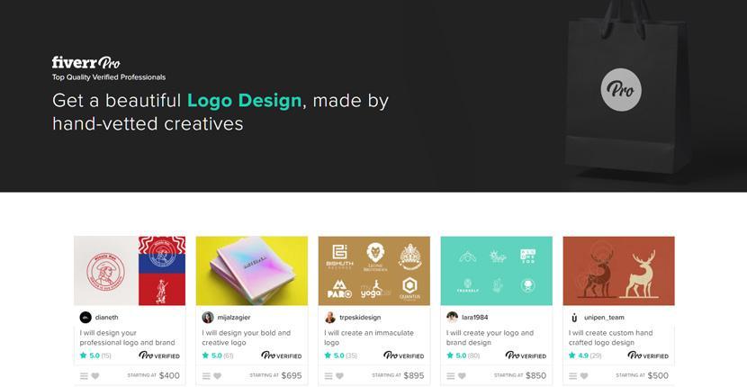 Fiverr screenshot - Fiverr Pro logo designers