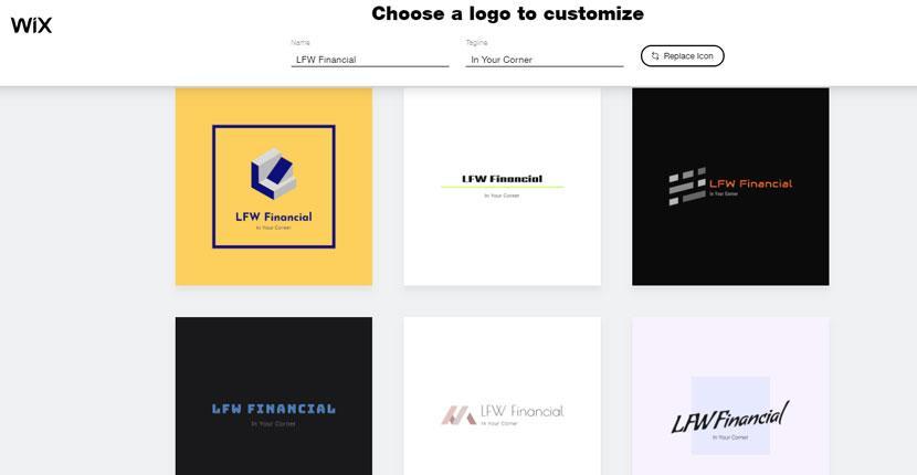 Wix Logo Maker screenshot - AI-generated logos