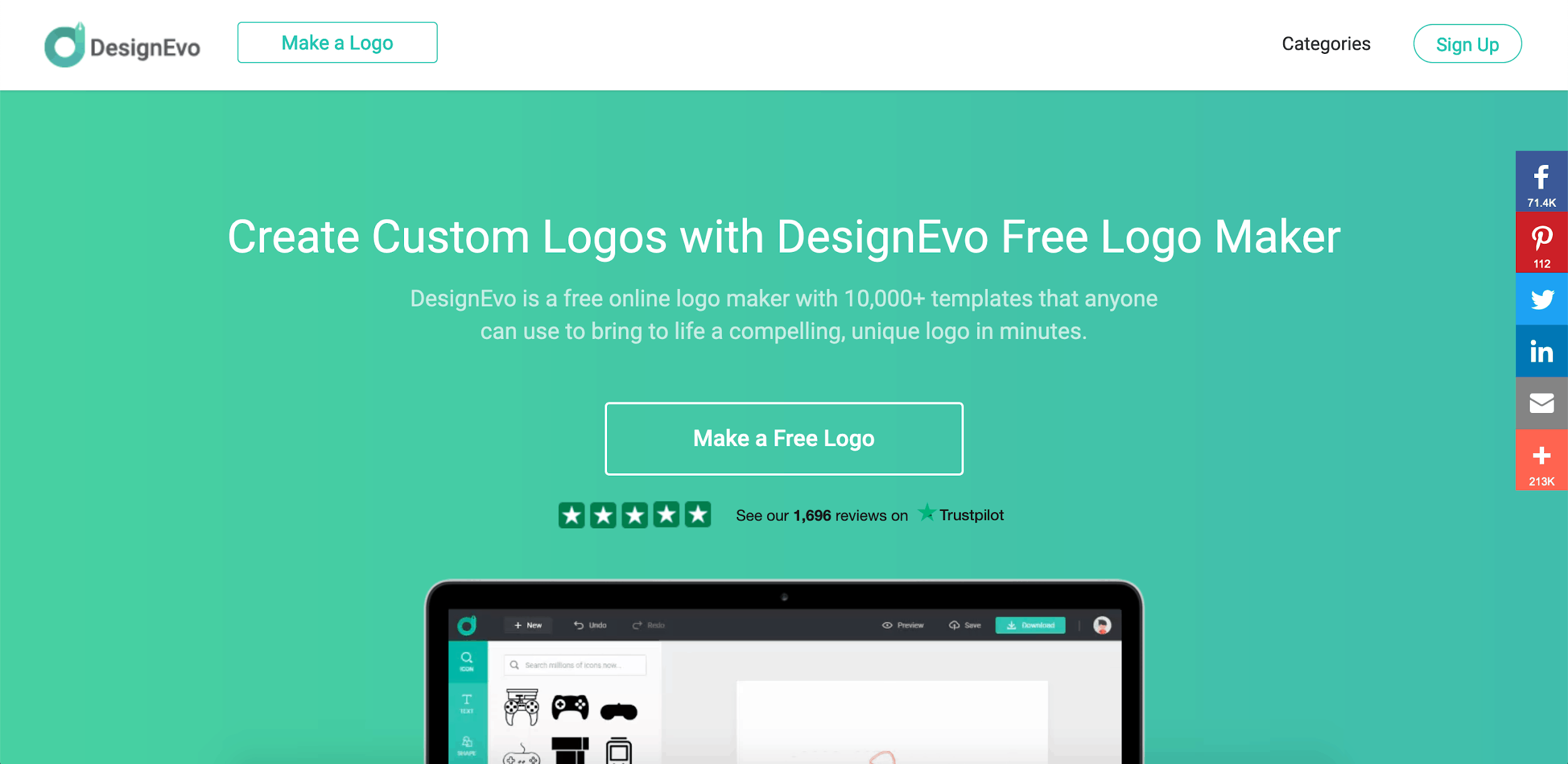 DesignEvo screenshot - homepage