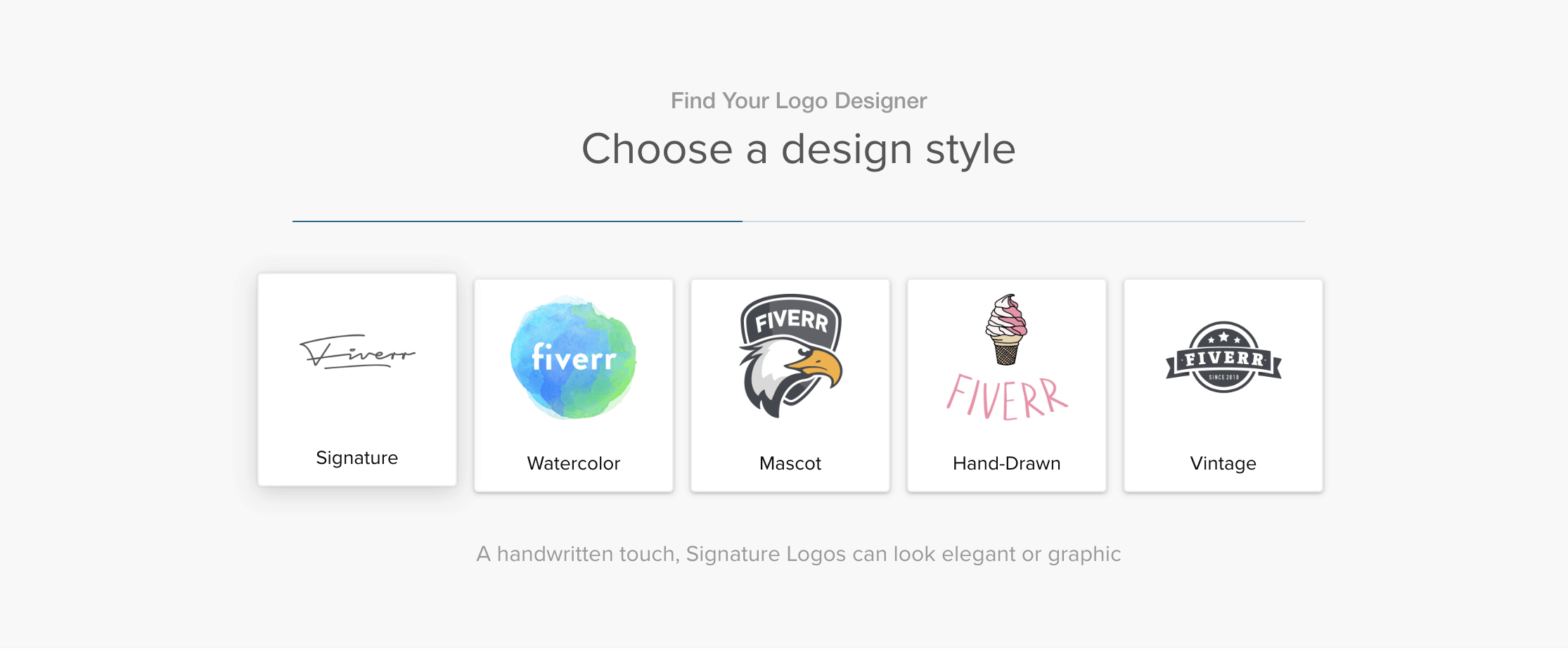 Fiverr screenshot - Logo design search wizard