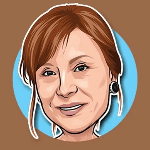 Avatar design - woman in brown and blue