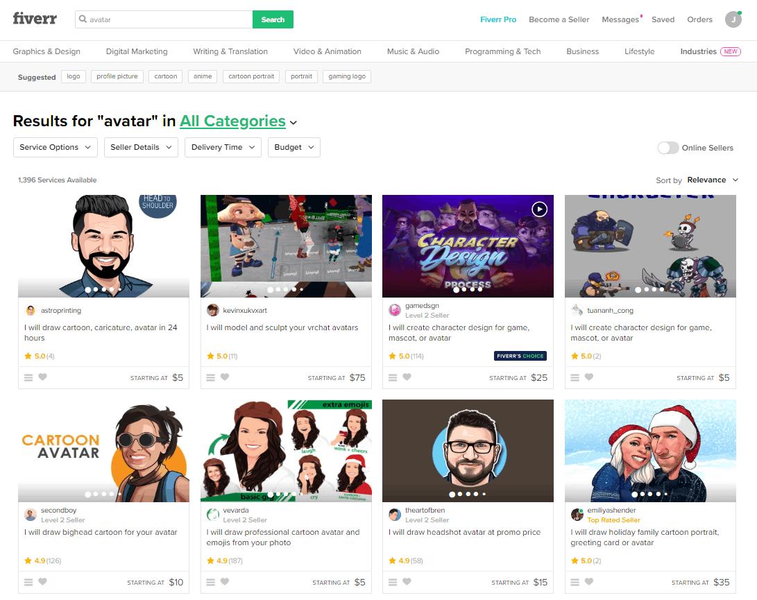 Fiverr screenshot - Avatar designers