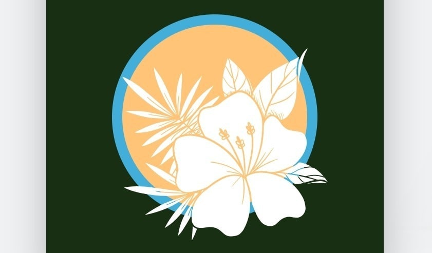 Avatar design created with Wix Logo Maker - white flower on yellow and blue