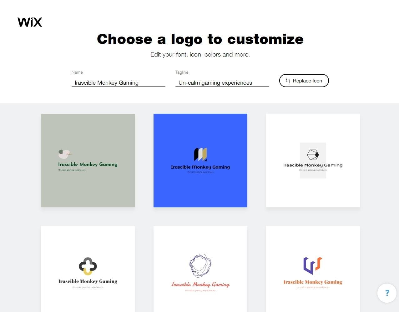 Wix Logo Maker screenshot - Choose a logo to customize