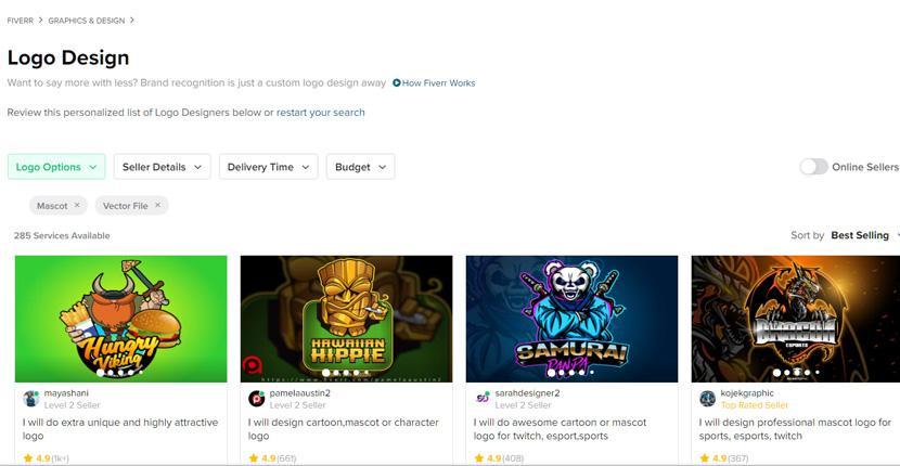 Fiverr screenshot - Logo designers