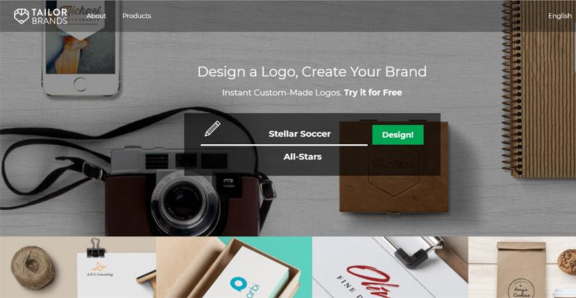 Tailor Brands screenshot - homepage