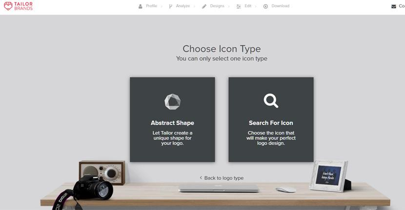 Tailor Brands screenshot - Choose Icon Type